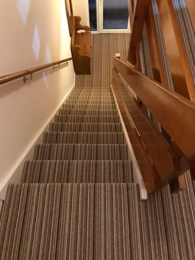 Funky striped stairs. Shetland Berber Cardinal to stairs and landing