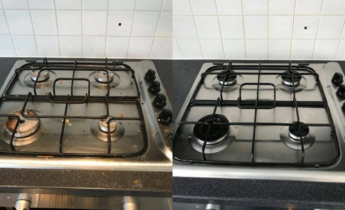 Before/after hob cleaning
