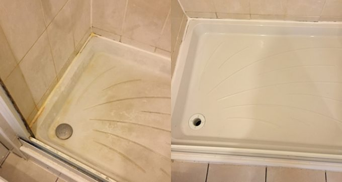 Removing limescale from the shower tray