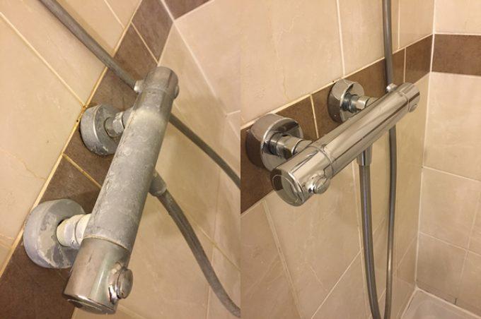 Before/after descaling the shower bar valve