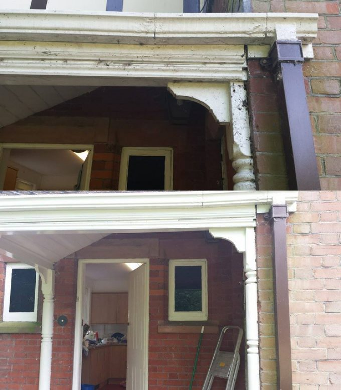 Before/after porch canopy cleaning