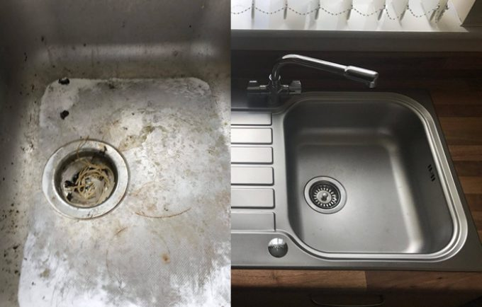 Removing limescale from a stainless-steel sink